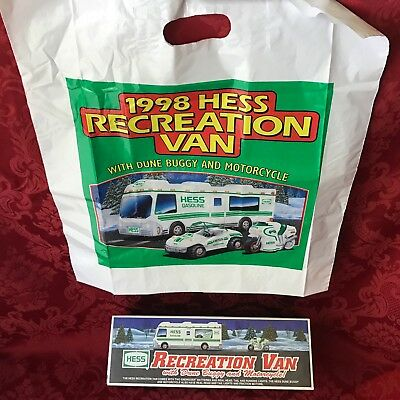 """1998 Hess """"recreation Van With Dune Buggy And Motorcycle"""" New In Box With Bag"""