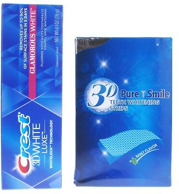 Teeth Whitening White Strips + Choice Of Two 3D Teeth Whitening Toothpastes