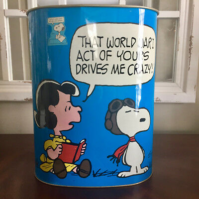 Vintage Peanuts Metal Trash Can Snoopy Red Baron Flying Ace WWI Lucy 1966 1967
