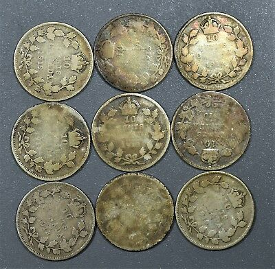 CANADIAN 1910-1919 TEN CENTS 10C Dimes 92.5% SILVER 9 Coin Lot CANADA  A5121