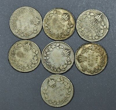 CANADIAN 1920-1936 TEN CENTS 10C Dimes 80% SILVER 7 Coin Lot CANADA  A5118