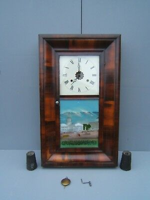 American wall clock with weights Walnut pic court house St Louis nice condition