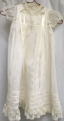 Collectible Vintage Christening Baptism Dress Small Long Ivory Lace Nylon