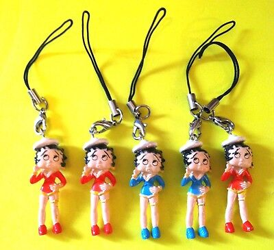 7 New Betty Boop  Lot Of Rubber Cell Phone Charms