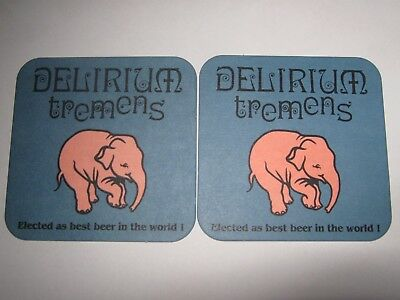 2  S-B coasters bierdeckel  DELIRIUM TREMENS DIFFERANTS COULEUR & TEXTE