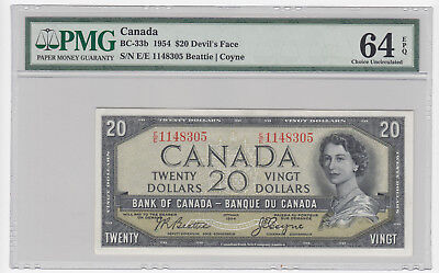 1954 Bank of Canada $20 Devil's Face - PMG Choice Uncirculated 64 EPQ