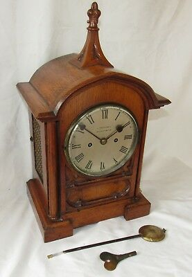 Nice Quality Gothic Double Fusee English Bracket Clock In Oak Case