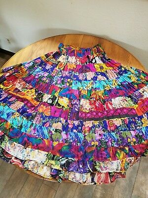 Vintage PHOOL India BOHO Mixed Floral Maxi Tiered Patchwork Skirt L