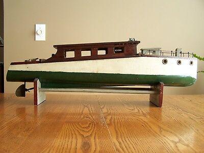 Vintage Hand Made Wooden Electric Model Boat - Beautiful and  Rare