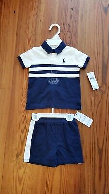 Ralph Lauren Layette Baby Boys Jersey Short and Rugby Polo Set, NWT, 9 Months