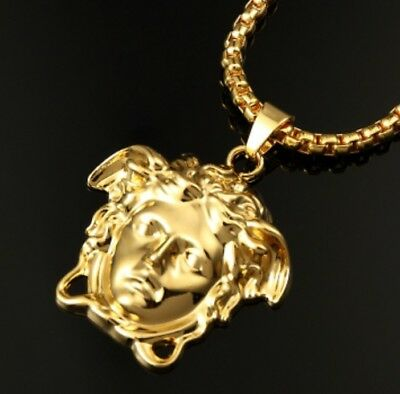 Gold Plated Medusa Face Versace Style Iced Out Frame Pendant Necklace Bling Mens