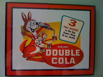 Double Cola Kangaroo Soda Fountain Diner Framed Advertsing Print Man Cave Sign