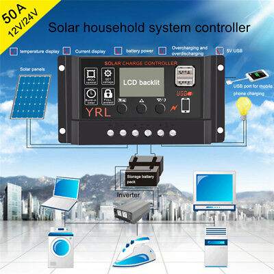 10/20/30/40/50A PWM Dual USB Solar Panel Battery Regulator Charge LCD Controller