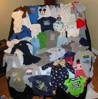 Huge Lot of Baby Boy Clothing NB - 3 Mo. Newborn - 3 Months  52 Pieces EUC!!!