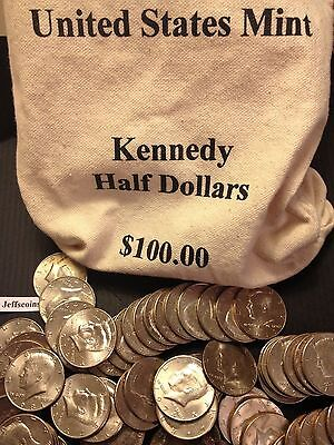 1971 - 2018 PD Kennedy Half Dollar 100 Coin Lot 2x Silver 90% 40% +U.S. Mint Bag