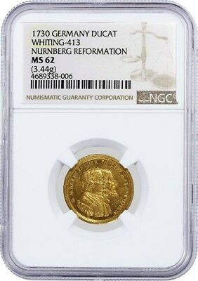 1730 D German States Nurnberg Reformation Whiting 413 Gold Ducat NGC MS62