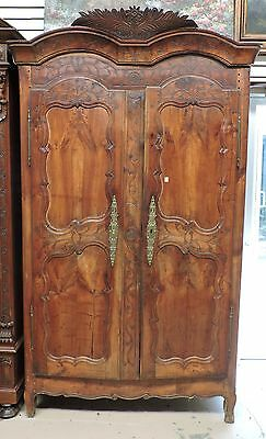 Antique French Fruitwood Armoire 18th century Amazing Carving Steel HInges