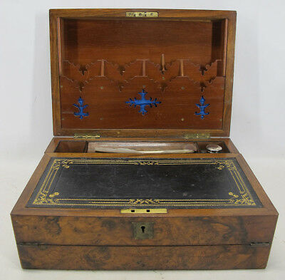 Antique 19th c Victorian Burl Traveling Lap Desk Writing Slope Inkwell NR  yqz