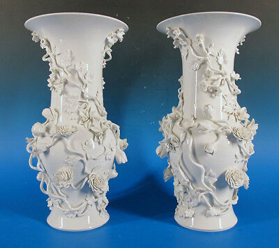 (2) Antique French Majolica Hand Crafted Blanc de Chine Floral Relief Vases yqz