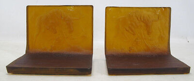 Very RARE! Antique Pair Amber US Glass Bookends Moose Stomping Wolf Motif NR yqz