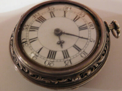 Antique English 18Th Century Verge Fusee  Self Striking  Pair Cased Pocket Watch