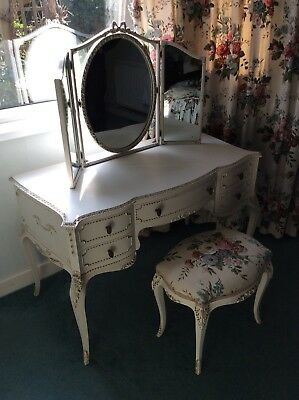 Dressing table  Cream kidney shaped French Louis Style with Mirror And Stool