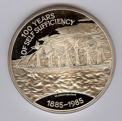 1985 Falkland Islands 100th Anniv. of Self Sufficiency Silver Proof £25 Coin
