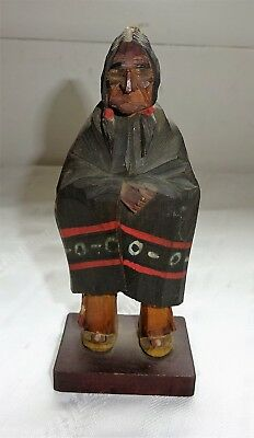 Canadian Pacific Hand Carved Indian Figure  1950s  Signed