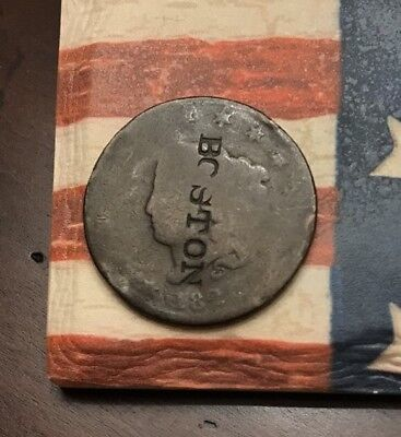 """1826? 1C Coronet Head Large Cent US Copper Coin #EE4 """"BOSTON"""" Counter Stamp"""