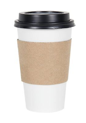 CucinaPrime WHITE Paper Coffee Hot Cups with BLACK Travel Lids and Sleeves - 16