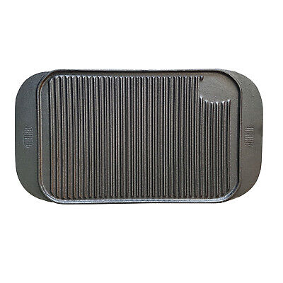 Cast Iron Grill Plate 475x260mm Reversible Smooth & Ribbed Griddle Hotplate