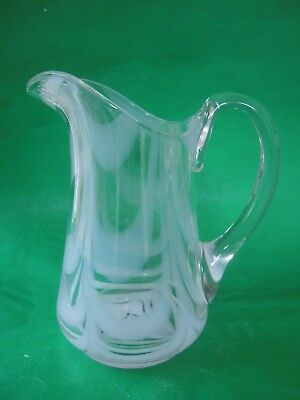Vintage White Looped Clear Glass Pitcher Pontil