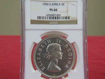 1956 South Africa 5 Shillings Crown NGC PL 66NICE GEM; PERFECT!!