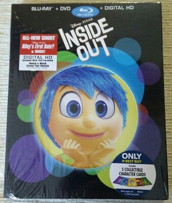 Inside Out (Blu-ray/DVD, 2015, Only Best Buy) Slipcover w/cards Disney Pixar