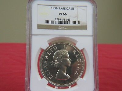 """1959 South Africa 5 Shillings CrownNGC PF 66 """"THE KEY DATE"""" GEMPROOF BEAUTY!!"""
