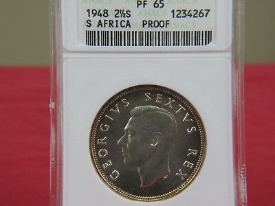 1948 South Africa2 1/2Shillings ANACS PF 65 GEM PROOF BEAUTY!!
