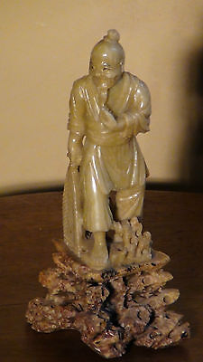 Antique Chinese Light Green Jade Carved Statue Of Fisherman