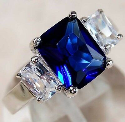 5CT Blue Sapphire & White Topaz 925 Solid Sterling Silver Ring Jewelry Sz 8