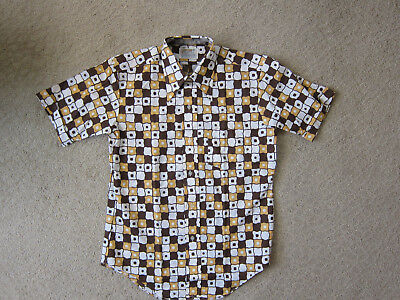 NEW! Wild 60s 70s Vintage Perma-Press Gold Brown Casual Men's Shirt Mod - M