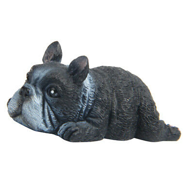 Vivid Synthetic Resin Black Dog-shaped Mini Size Sculpture Lying Gesture