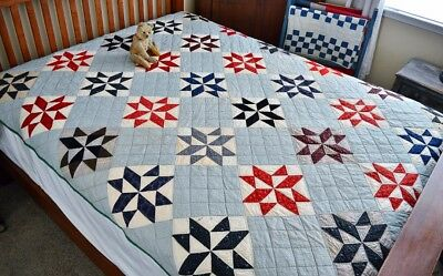 Antique Hand Stitched Pieced Star Quilt *
