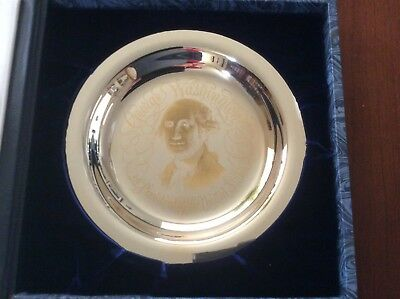 "Franklin Mint ""The George Washington Plate"" Sterling Silver with Inlaid 24k Gold"