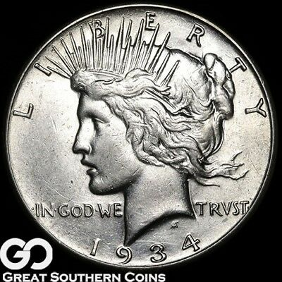 1934-S Peace Dollar, Very Choice AU++/Unc Key Date San Francisco Issue, Free S/H