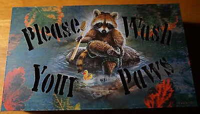 PLEASE WASH YOUR HANDS River Racoon Bathroom Lodge Cabin Kitchen Light Sign NEW