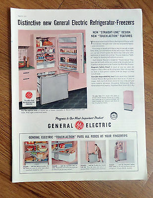 1957 GE General Electric Refrigerator-Freezer Ad Straight-Line Design
