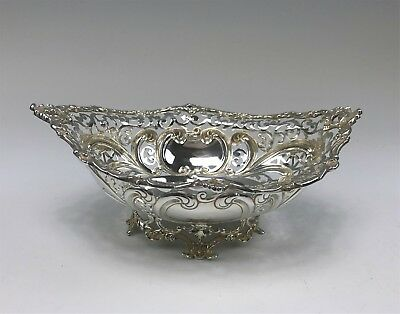 Exquisite Sterling Silver Ornate Footed Reticulated Bowl