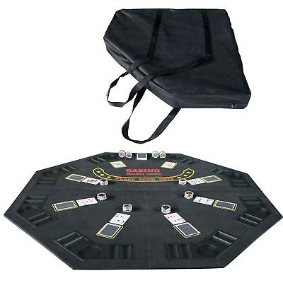 Folding Blackjack / Poker Card Game Table Top Octagon w/ Cup Chip Holders Black