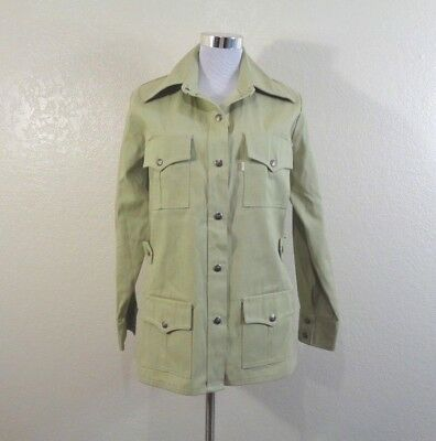 70s LEVI'S WHITE TAG PALE GREEN COTTON SNAP FRONT WESTERN STYLE SAFARI JACKET