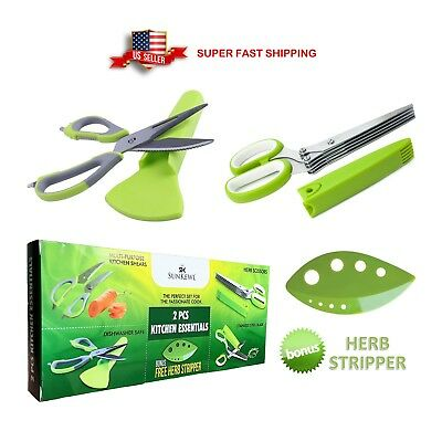 Multi-Purpose Shears, 5 Blade Herb Scissors, Herb Stripper Kitchen Gadget Tool