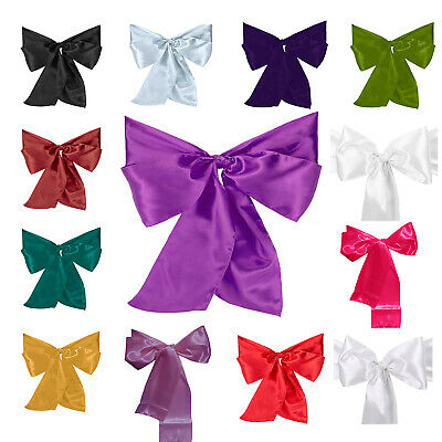 7 X 108 Inch Satin Chair Sashes Bow Ribbon Party Anniversary Chairs Decoration